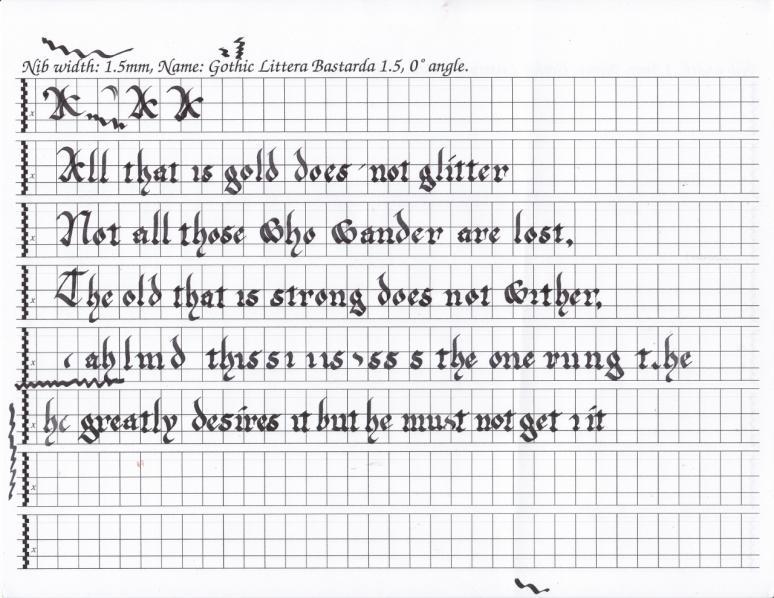 Scriptorium 6 Strider poem practice Gothic